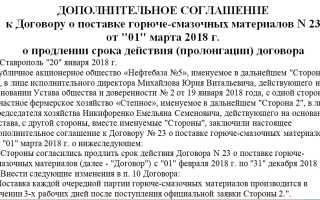 Дополнение к договору о продлении срока действия
